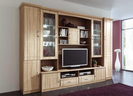 wohnwand in eiche sonoma dekor wohnzimmer brigitte st. Black Bedroom Furniture Sets. Home Design Ideas