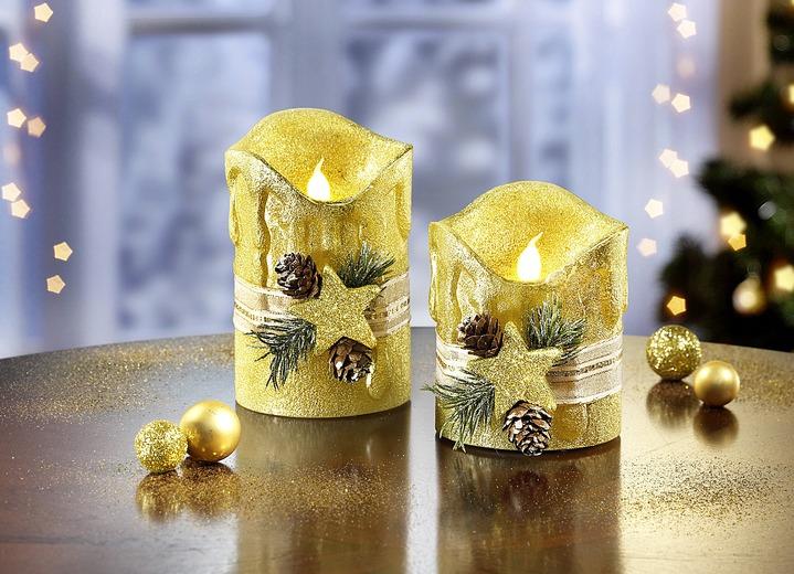 led echtwachskerzen 2er set in verschiedenen farben weihnachtliche dekorationen brigitte. Black Bedroom Furniture Sets. Home Design Ideas