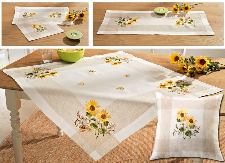 tisch und raumdekoration mit sonnenblumen motiven tischdecken brigitte st gallen. Black Bedroom Furniture Sets. Home Design Ideas