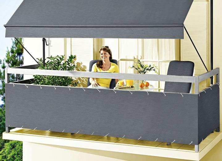balkonbespannung style in verschiedenen farben sichtschutz und sonnenschutz brigitte st. Black Bedroom Furniture Sets. Home Design Ideas