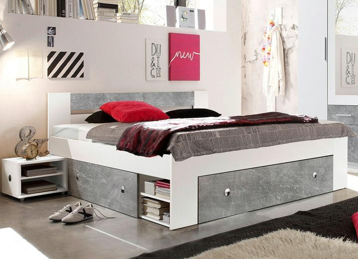 Praktisches Futonbett in Beton-Weiß