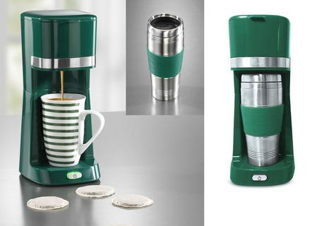 """coffeemaxx"" Single-Kaffeemaschine mit Keramik- und Thermobecher"