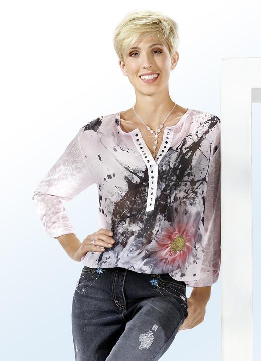 Image of Bluse mit Kontrast-Druck und Zierleiste