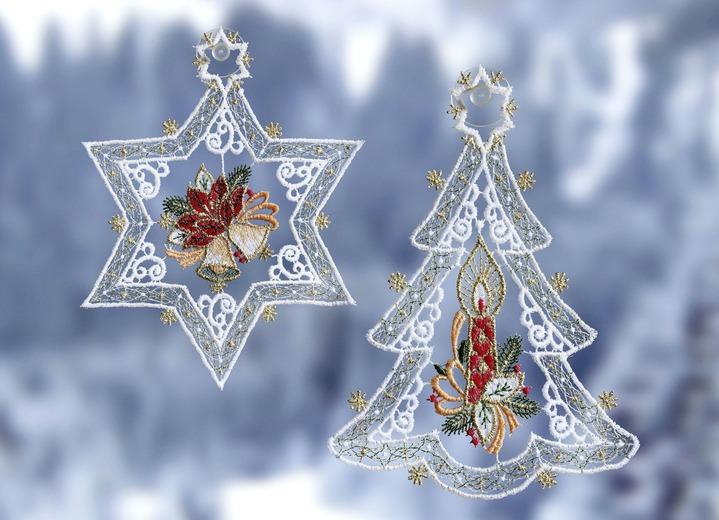 Fensterbild, 2er-Set, Weihnachtsbaum und Stern