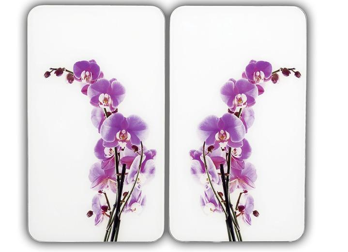 «WENKO» Herdabdeckplatten Orchidee, 2-er Set